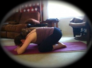 CalmUp® photo of Lorie on yoga mat